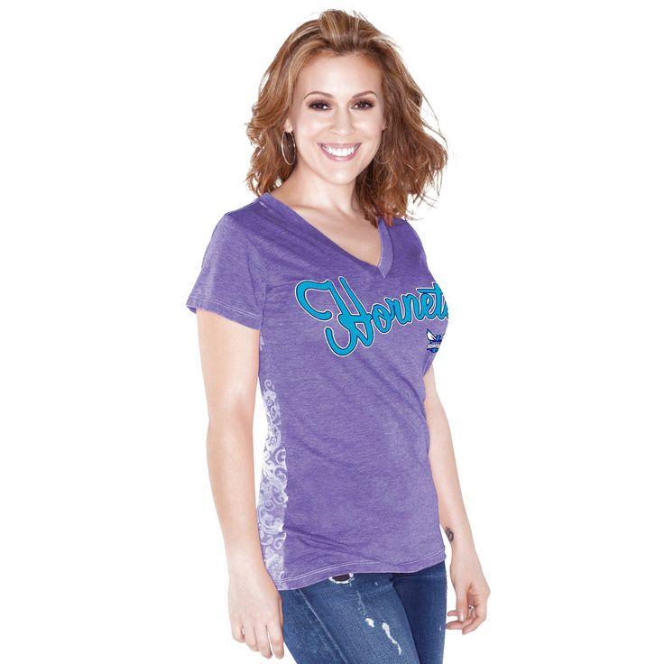 Charlotte Hornets Touch by Alyssa Milano Women's Audrey V-Neck T-Shirt – Purple - $29.44