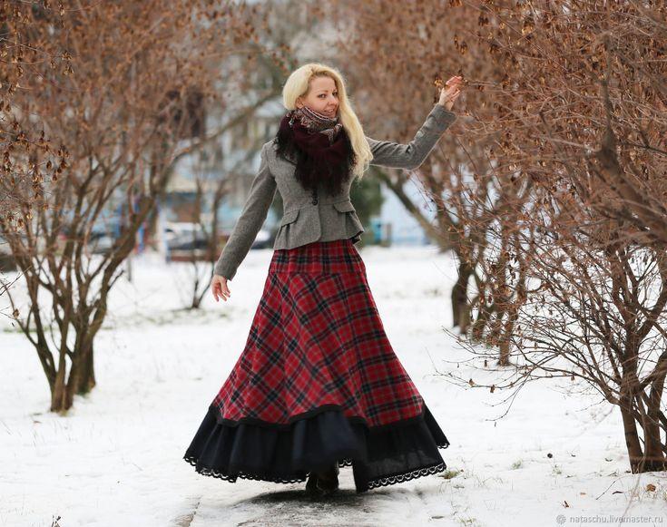 Купить Шерстяная юбка-бохо в клетку. Теплая юбка на зиму в интернет магазине на Ярмарке Мастеров