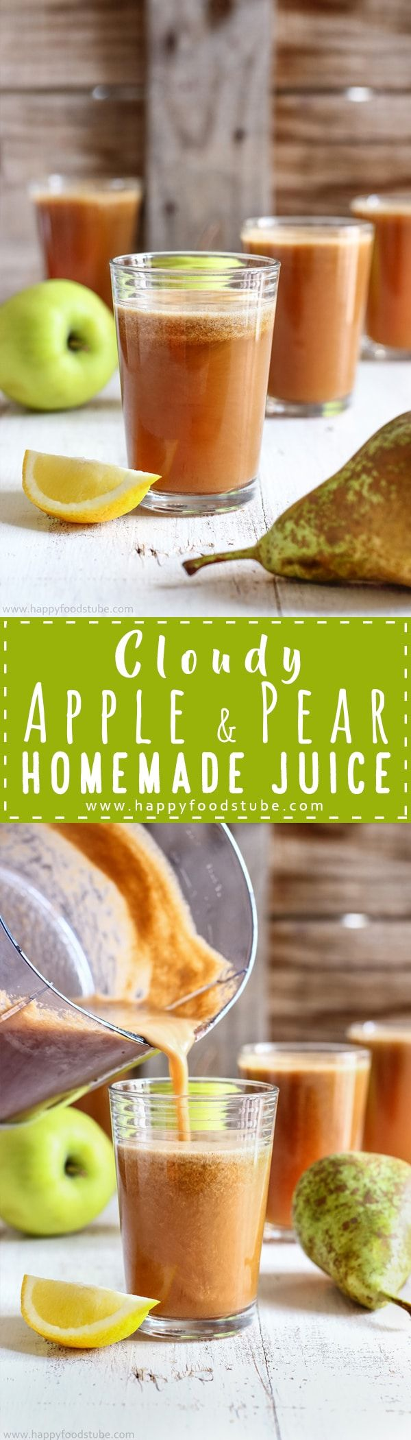 Healthy cloudy apple pear juice recipe. Nothing is better than a glass of homemade fresh juice. Easy juicing idea. Only 2-ingredients, ready in 5-minutes and tastes amazing via @happyfoodstube