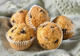 Whole-Wheat Blueberry Protein Muffins.  Use flax egg and vegan protein powder.