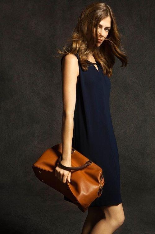 navy shift: Fashion Dresses, Massimodutti, Navy Dresses, Brown Bags, Shift Dresses, Massimo Dutti, Little Black Dresses, Leather Bags, Glamorous Chic Life