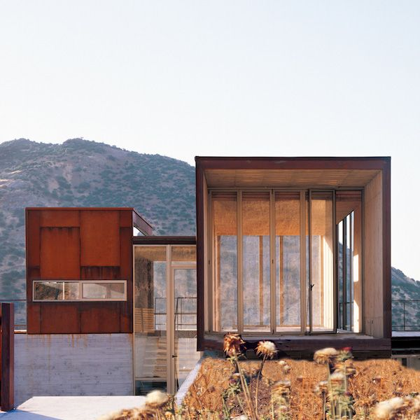La Reserva by Sebastian Irarrazaval, a low-cost prefab made of concrete, steel plates and timber.