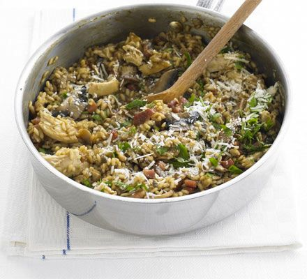 Wild mushroom, chicken & bacon risotto   BBC Good Food