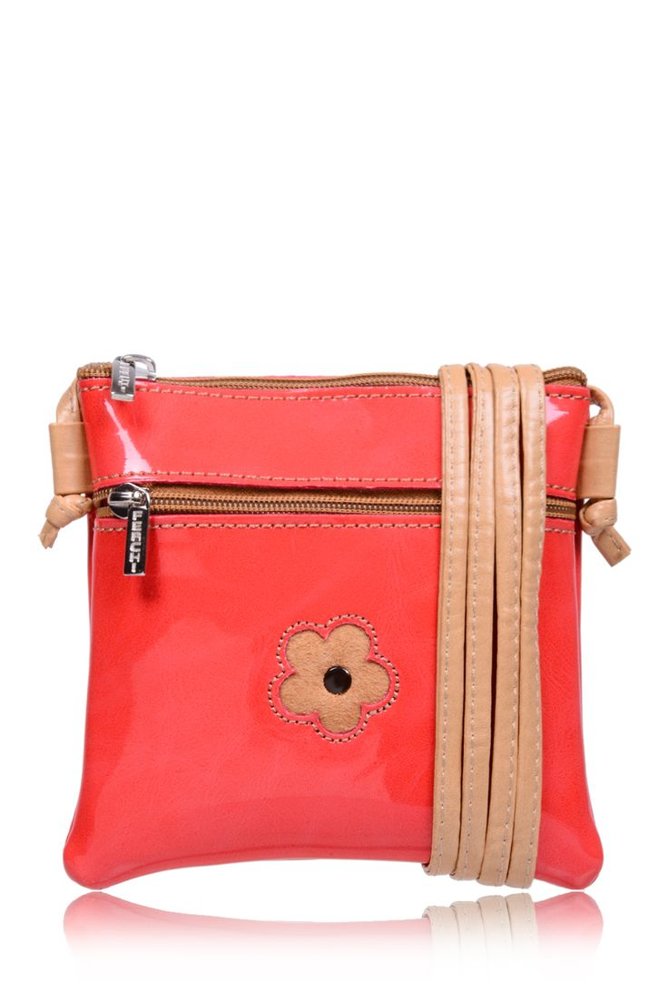 #FERCHI 	 MINI DAISY Coral Patent Crossbody Bag   Price: € 33.00
