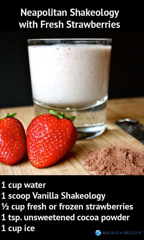 Try this recipe made with Vanilla Shakeology, cocoa powder, and fresh strawberries! It's great for breakfast or dessert. // healthy recipe  // Shakeology // Beachbody // BeachbodyBlog.com