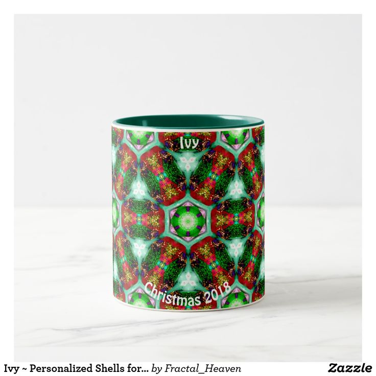 Ivy ~ Personalized Shells for Christmas Fractal ~ Two-Tone Coffee Mug