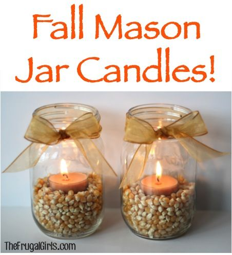 Fall Mason Jar Candles! ~ from TheFrugalGirls.com ~ spruce up your mantel with some fun Fall Candles! #candle #masonjars