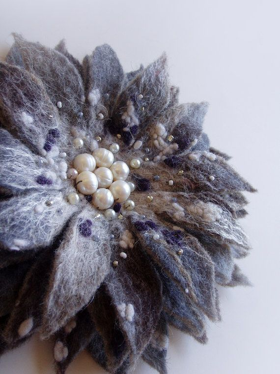 RUSTIC FLOWER in Winter grey Felted Flower Brooch made entirely by hand using the Wet felting technique from finest merino wool and silk tops. - by FeltFatal,