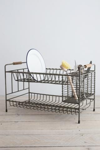 Vintage wire dish drainer rack from Decorator's Notebook Shop