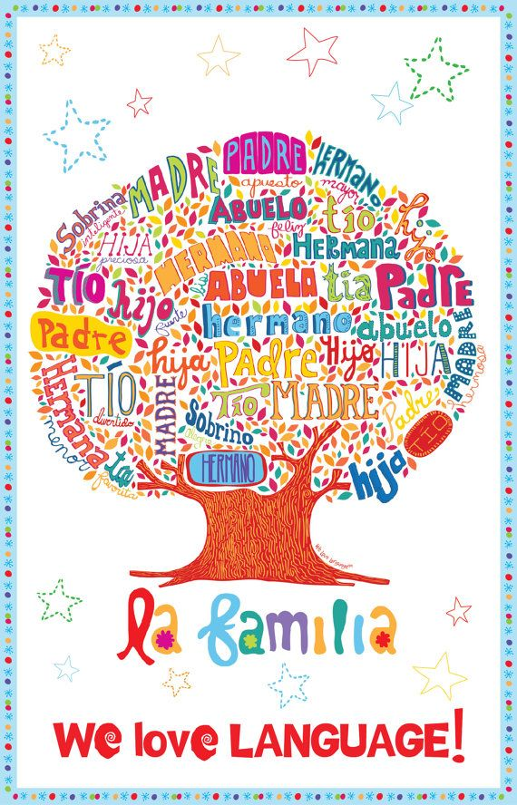 Every little kid that speaks or is learning spanish needs one of these hanging on their bedroom wall! The Family Tree Spanish Poster la familia by WeLoveLanguage, $5.00