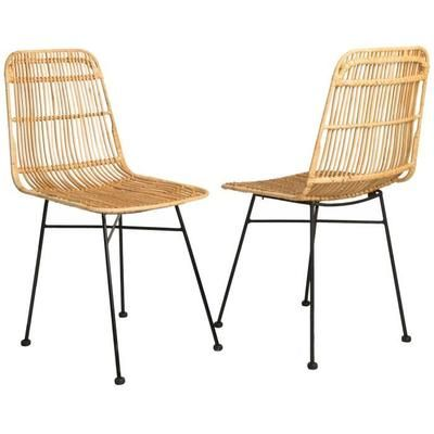 ELIA Lot de 2 chaises en rotin naturel – Pieds en métal – Ethnique – L 44 x P 40 cm