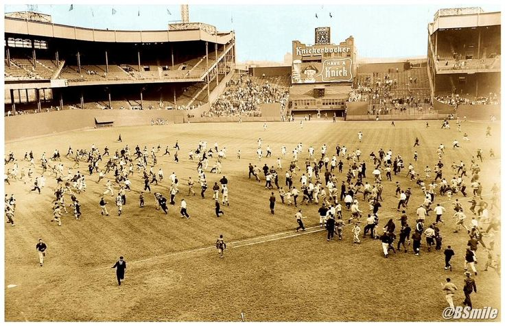 Today In 1957  Fans rush the field after the NY Giants last game at the Polo Grounds before moving to the West Coast