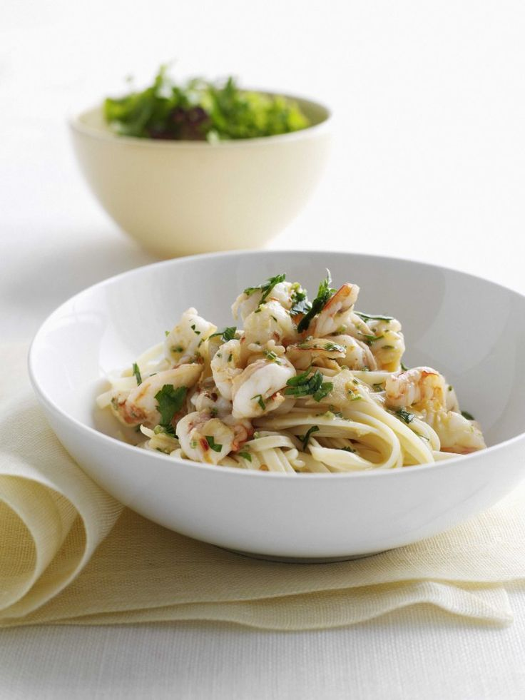 Pasta with a touch of garlic and a hint of chilli makes the perfect base for fresh juicy prawns.