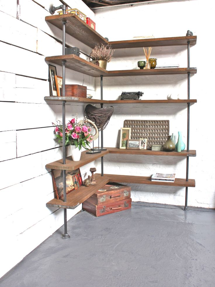 Malin Floor and Wall Mounted Mitred Corner Shelving Unit made with Reclaimed Scaffolding Boards and Dark Steel Pipe by UrbanGrainInteriors on Etsy https://www.etsy.com/listing/261385293/malin-floor-and-wall-mounted-mitred