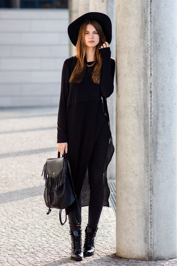 Asymmetric Long Shirt  #modeblog #fashionblog #whaelse #streetstyle #insp #fashion #style #outfit #howtowear #whattowear #asymmetric #longshirt #UrbanOutfitters #Hat #Subdued #Backpack #Fringes #Boots #allblack #skinnyjeans