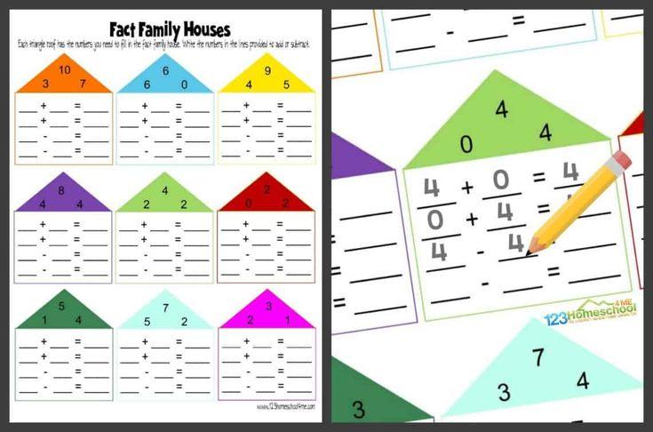 FREE Fact Family Worksheets in 2020 | Kindergarten ...