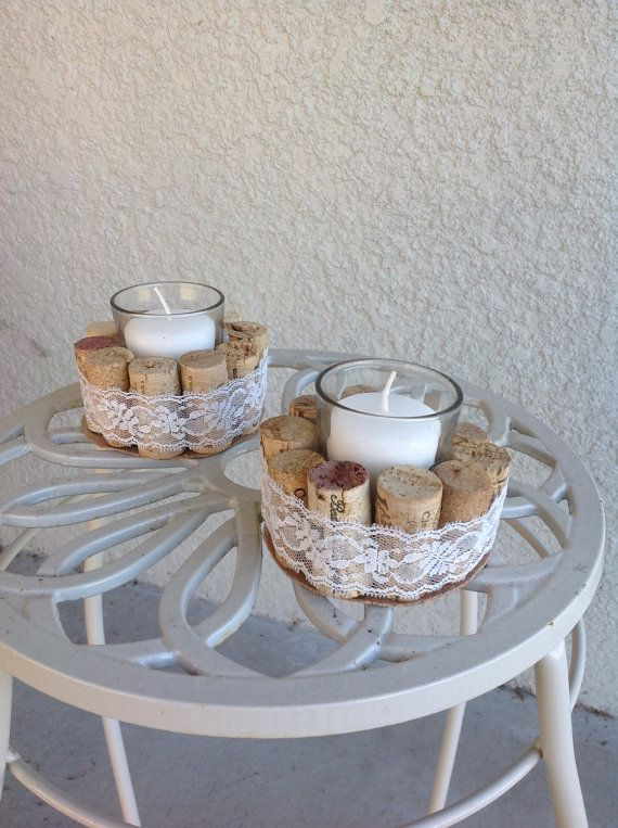 Free Shipping!!  Wine cork votive candle holder with lace, ribbon or twine