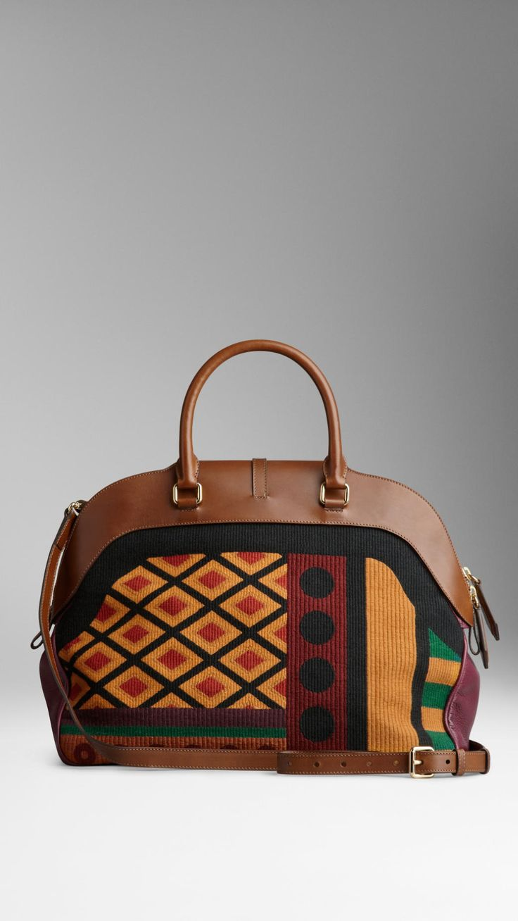Large Tapestry and Leather Bowling Bag | Burberry.....