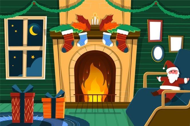 Salon Con Chimenea Y Decoracion Navidena Vector Premium En 2020 Chimeneas Navidad Chimenea Navidad Navidad