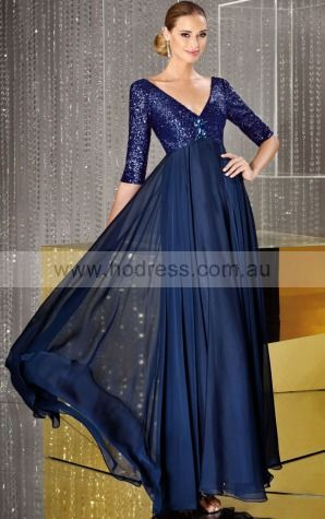 3/4-Length Sleeves V-neck Zipper Chiffon Floor-length Formal Dresses zwh234--Hodress