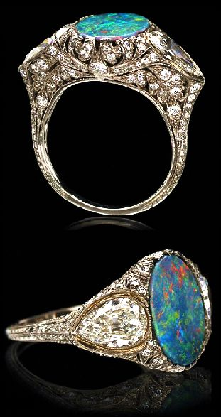 TIFFANY & CO. ART DECO OPAL AND DIAMOND RING