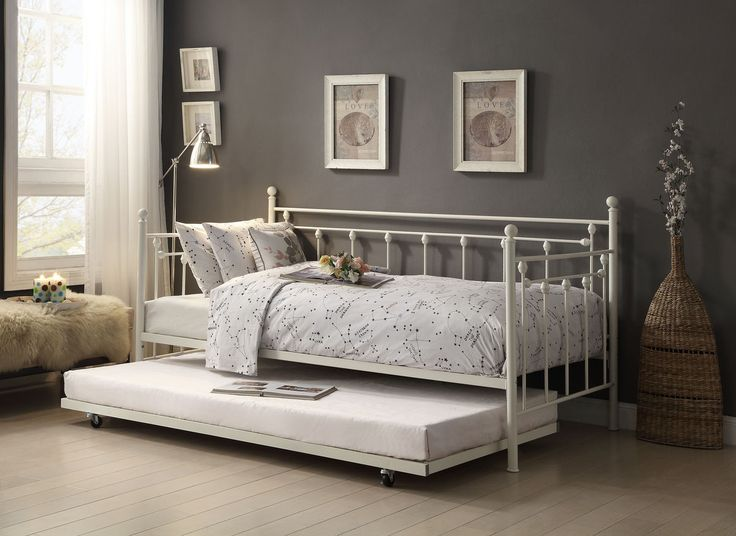 Home Elegance Lorena Metal Daybed with Trundle 4965W-NT