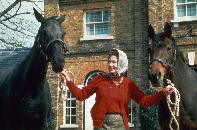 royals for centuries have always had horses. Queen Elizabeth II and her horses at Hampton Court, Britain in 1985.