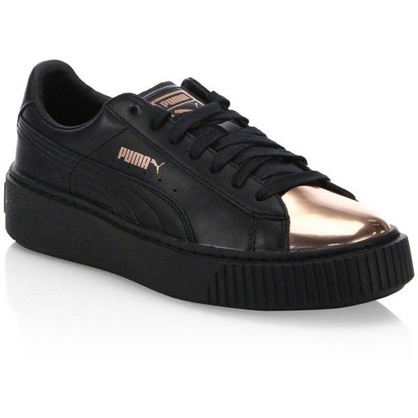 PUMA Leather Basket Platform Metallic Sneakers (1.331.600 IDR) ❤ liked on Polyvore featuring shoes, sneakers, leather upper shoes, laced up shoes, platform trainers, metallic sneakers and metallic shoes