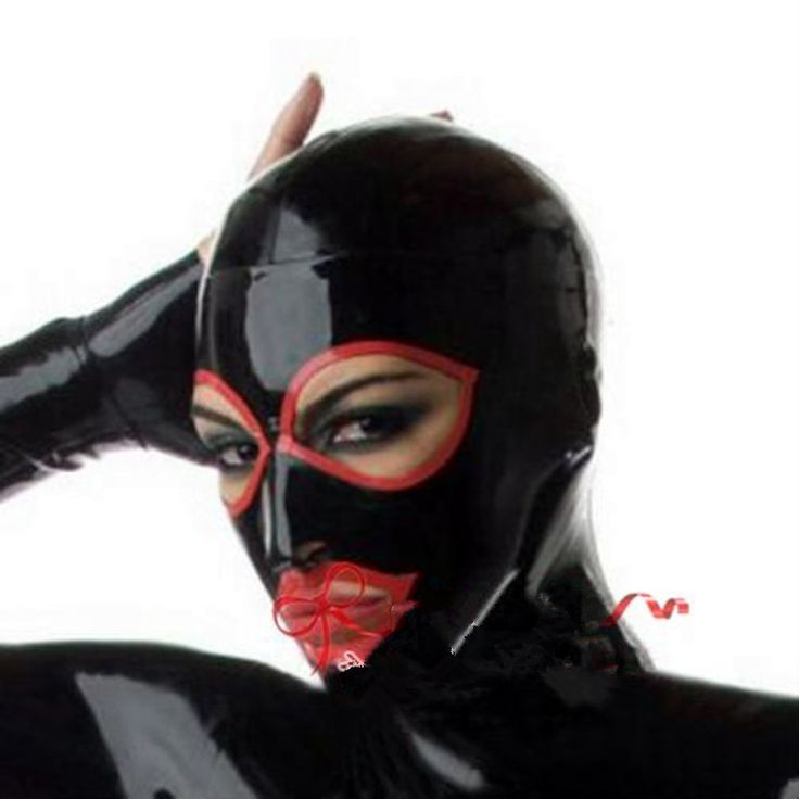 New arrival Anatomical Latex Mask Black Rubber Fetish Latex Hoods Masks Condom Rubber Mask Hood customized catsuit costume sexy