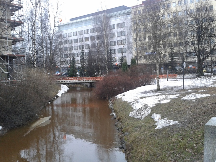 Some dirty water in central Oulu.