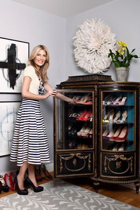 Brook Cundiff (from Gilt Groupe) found this curio cabinet at a furniture store & revamped it, added more shelves and the velvet-lined cabinet neatly holds 40 pairs of her most worn shoes! #shoes