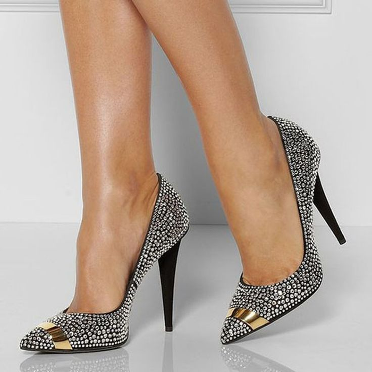 Chic Black Rhinestone Spike Heel Court Shoes