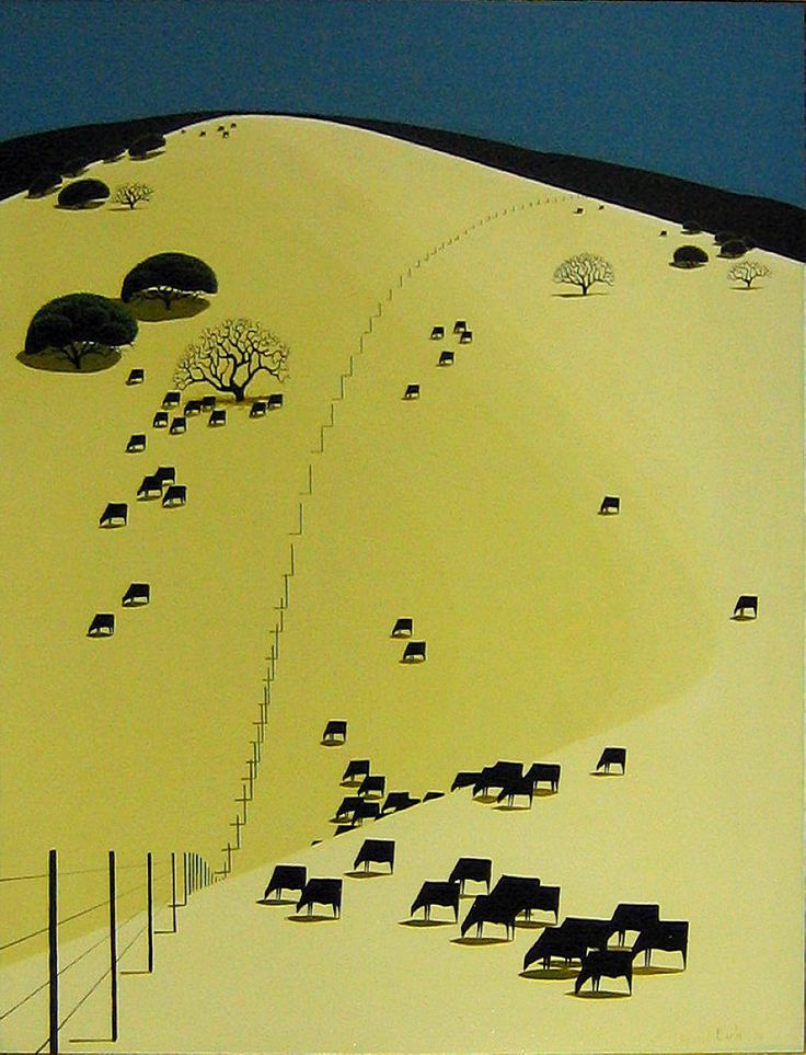 'Grazing in Peace' (1970) by American artist & illustrator Eyvind Earle. via WikiPaintings