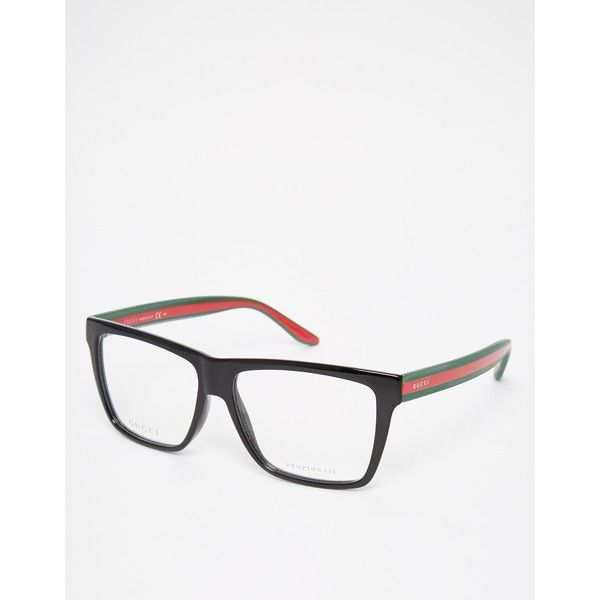 Gucci Square Clear Lens Glasses With Contrast Arms ($322) ❤ liked on Polyvore featuring men's fashion, men's accessories, men's eyewear, men's eyeglasses, black and gucci mens eyeglasses