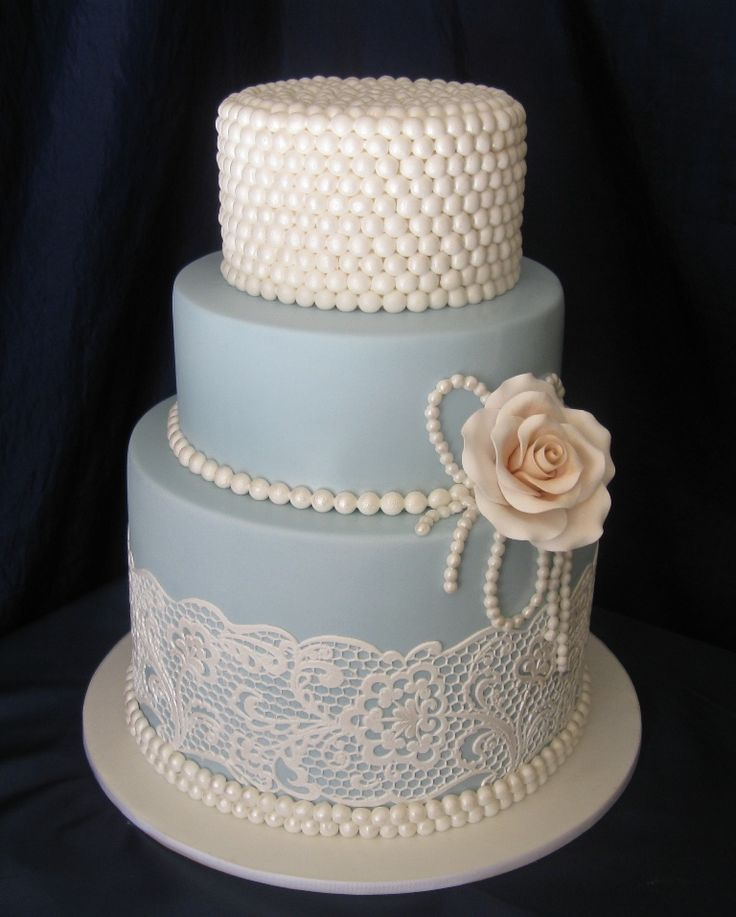 Pearl And Lace Mini Cake. I made a cake similar to this (without top layer) for my nephew's wedding! Put lace on & layers, 2 lavender roses and green leaves ...