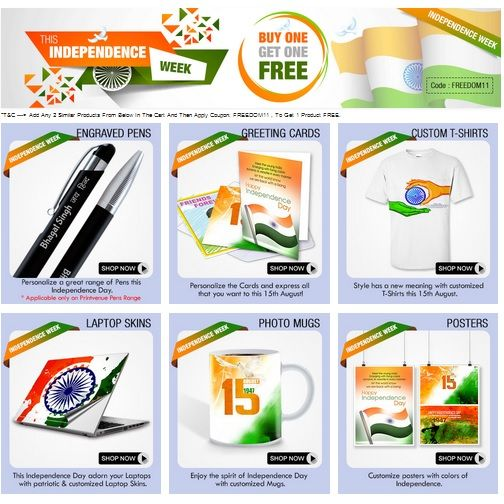 #Independence Day Week Offer!!  Buy 1 Get 1 FREE on Personalized Mugs, Posters, Laptop Skin, T-Shirts & More at printvenue.com, Use Code: FREEDOM11