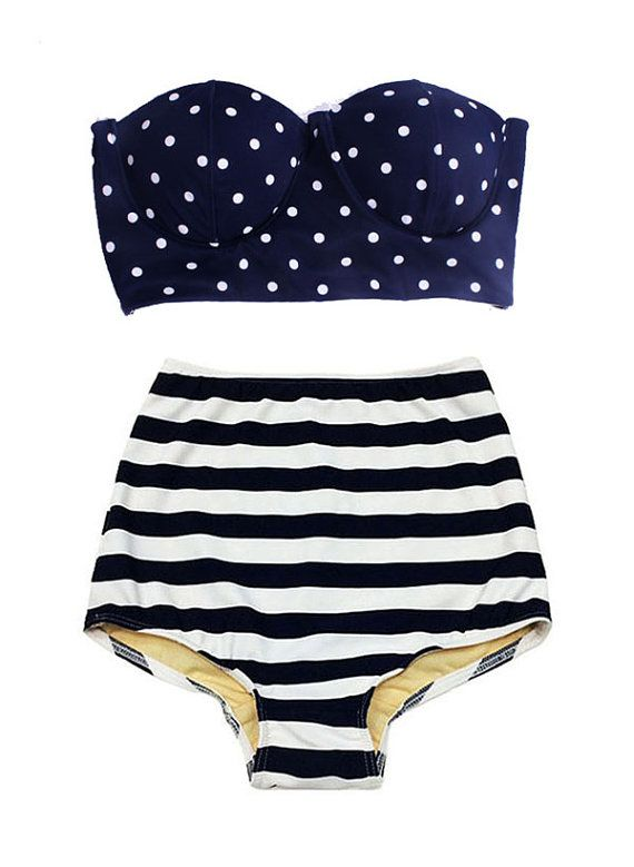 c3325edc53314 Navy Blue Polka dot Scallop Top and Stripe Vintage High Waist Waisted  Bottom Swimsuit Bikini Two piece Bathing suit Swimwear Swim dress S M