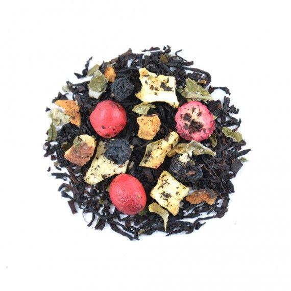 Fruity Black Treasure is een uitstekende Good Morning Tea melange van zachte zwarte thee Ceylon BOP1 met appel, aronia, kersen en cranberries.