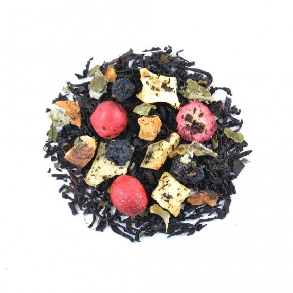 Fruity Black Treasure is een uitstekende Good Morning Tea melange van zachte zwarte thee Ceylon BOP1 met appel, aronia, kersen en cranberries.