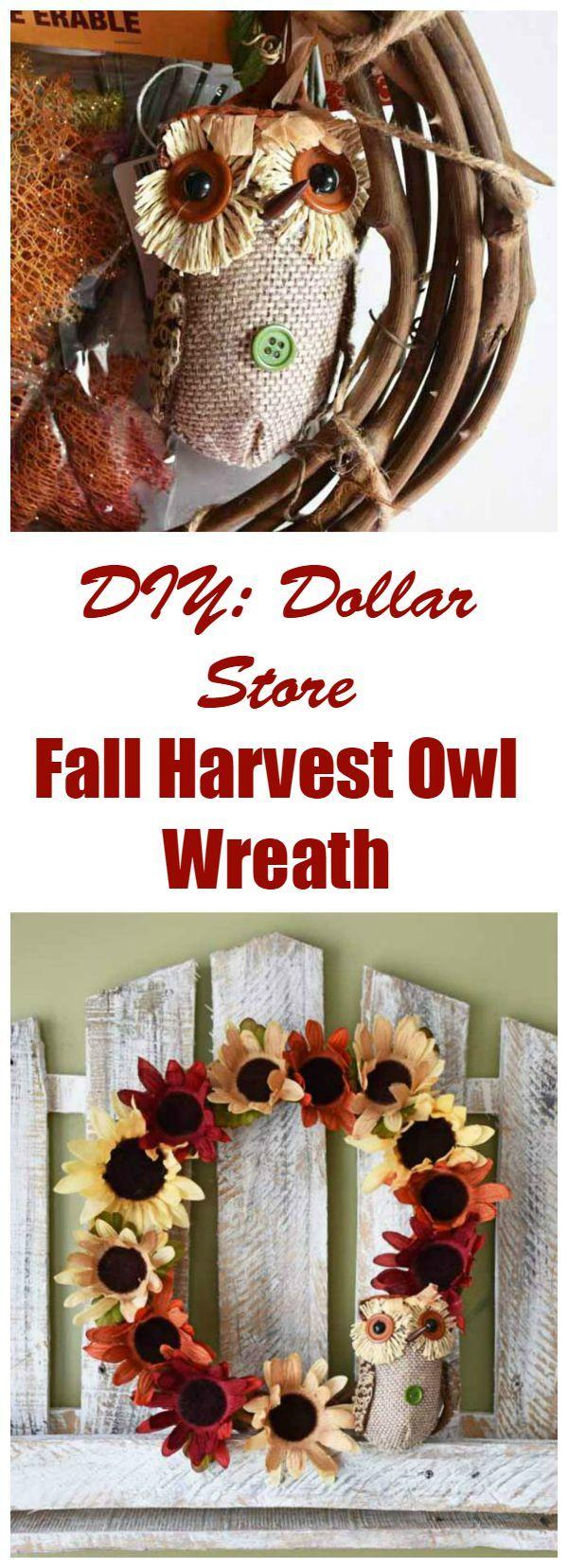 Dollar Store DIY Fall Harvest Owl Wreath