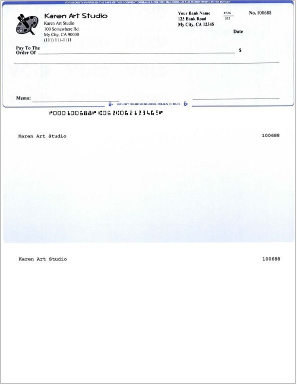 Blank Business Check Template Business Checks Printing Software
