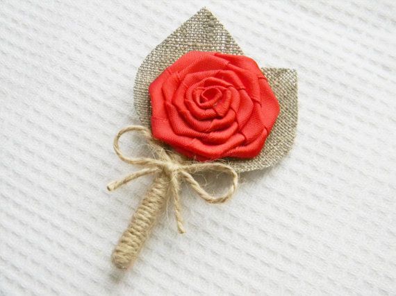 Set of 6 Red Flower burlap Boutonniere Wedding by WeddingForYou, $36.00