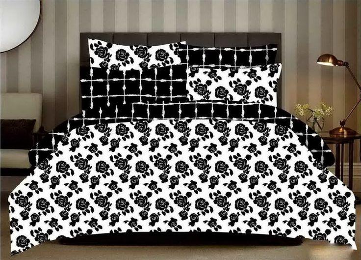 Moderné bielo čierne posteľné obliečky s ružami 200cm x 220cm