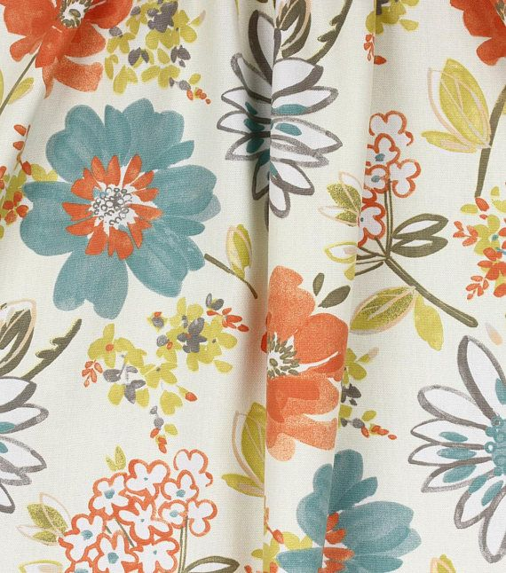 Floral Curtains Blue Orange And Gray Curtains Bedroom Floral Curtains Fabric Decor Home Decor Fabric