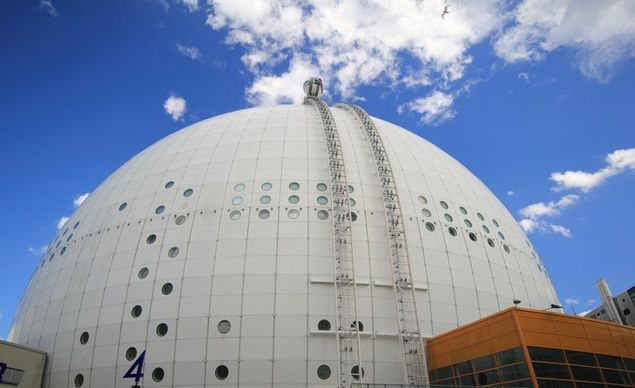 There is no better way to take in the sights of Stockholm, Sweden, than a ride on the SkyView at the Ericsson Globe. (Martin Maun / Dreamstime.com)