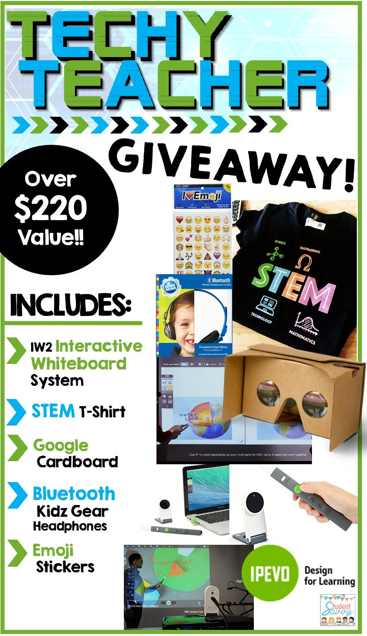 BIG Tech Giveaway including an INTERACTIVE WHITEBOARD System, Google Cardboard VR Glasses, STEM T-Shirt and more!