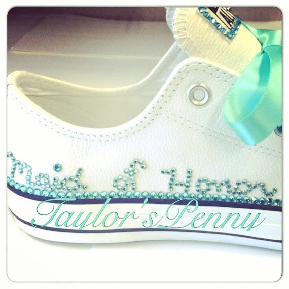 Womens Customized Converse for Brides/ Bridesmaids/ Personalized Wedding Sneakers