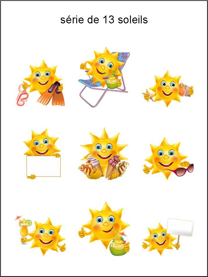 BB - collection de soleils en vacances - smiley émoticône clipart cartoon - téléchargement gratuit et sans inscription