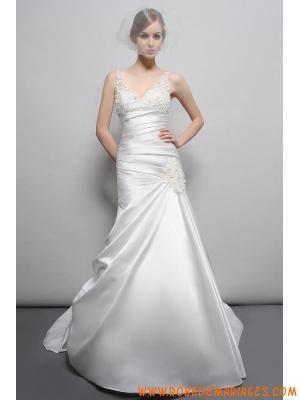 Robe de mariée avec traine 2013 col en V fleur perlé