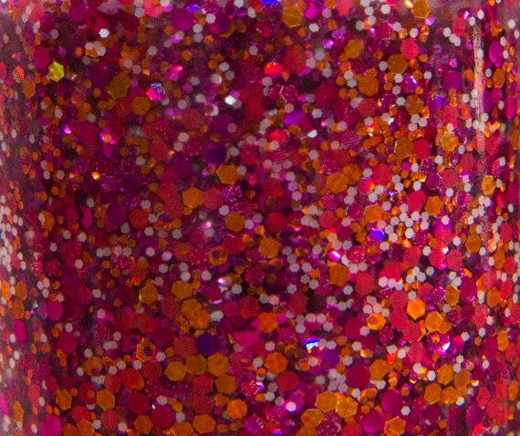 Snow Poppies glitter nail polish by Hollish 5-free indie nail lacquer, hand-made in South Australia-Pink, fuchsia, orange, matte white, hex, holo, holographic